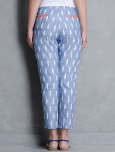 Blue Ikat Cotton Pleated Slim Pants by Indian August