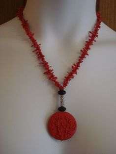 "20"" Red Branch Coral, Lava and Red Cinnabar Necklace, Bracelet & Earring Set 