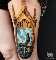 Fantastic Castle Tattoo Design. This realistic fantastic castle tattoo design is worth noticing, if you are a true admirer of something creative and realistic.