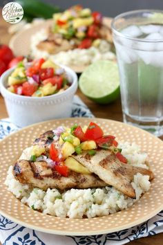 Grilled agave lime chicken with pineapple salsa recipe l www.a-kitchen-addiction Duck Recipes, Best Chicken Recipes, Grilled Chicken Recipes, Mexican Food Recipes, Turkey Recipes, Grilling Recipes, Cooking Recipes, Budget Recipes, Food Dishes