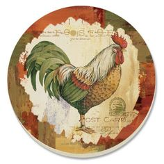 CounterArt Colorful Rooster Absorbent Coasters, Set of 4 by Counter Art. $11.79. Coasters are natural stoneware with decorative transfer print. Holders available; look for counterart wood coaster holds ( sold separately). Each coaster has a durable cork backing to protect countertops and furniture. Set of 4 absorbent coasters with attractive design marries artistic form with high function. To remove stains, soak coaster in 1 part household bleach and 3 parts water until stai... Country Chicken, Chicken Art, Chickens And Roosters, Hens And Chicks, Wood Coasters, Vintage Birds, Wood Signs, Paper Art, Folk Art
