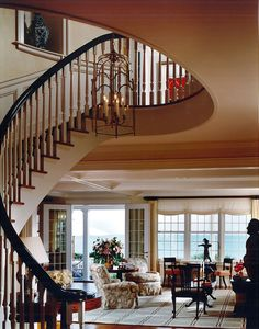 The spiral staircase lends itself nicely to the open floorplan