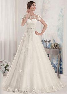 Marvelous Tulle Bateau Neckline A-line Wedding Dresses with Beaded Lace Appliques