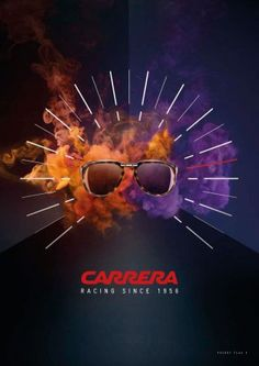 Carrera ad campaign is a clever nod to its racing history. Sunglasses surrounded by colorful exhaust fumes & a speedometer indicating high speeds.