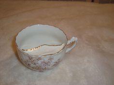 Vintage Rosenthal Germany Gentleman's Mustache Shield Tea Cup Gold Trim Floral #Rosenthal