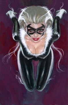 Mark Beachum Sexy Busty Latex Fetish BLACK CAT Pinup MARVEL Original Comic Art