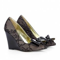 Black Lace Wedge with Bows.
