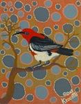 "Artist: 		KROCETTE    Title: 		""Scarlet Thornbill Honeyeater""    Medium:	Acrylic on Canvas    Price: 		$590    Size: 	355 x 280mm    Signed: 		KROCETTE 2012  Kidogo Art Institute - Gallery Aboriginal Artists, Opening Night, Australian Artists, Western Australia, Scarlet, Home Art, Bird, Abstract, Canvas"