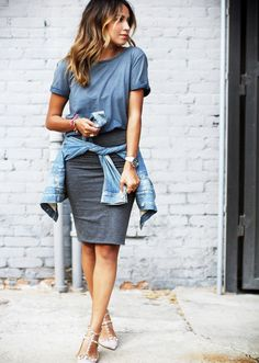 Casual T-Shirt Pencil Skirt via @WhoWhatWear