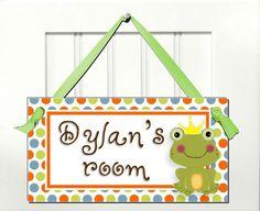 Kids door sign prince frog bedroom nursery decor personalized name. $8.99, via Etsy.