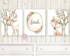 3 Boho Deer Fox Baby Name Wall Art Print Woodland Nursery Baby Girl Room Set Lot Watercolor Personalized Birth Stats Prints Decor