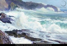 Dashing Water - Frederick Judd Waugh - WikiGallery.org, the ...