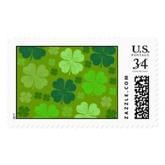 Saint Patrick's Day Four Leaf Clovers - Green Postage - st. patricks day gifts irish ireland green fun party diy custom holiday