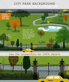 City Park Backgound  #GraphicRiver         Updated 22.11.2013 . A modern graphic illustration of a generic city park, although the yellow taxis make one think of New York. The grass, trees, walking path and road have subtle artistic textures which you can clearly see in the screenshots. The pond reflects the sky and clouds giving this landscape a fresh clean feeling in the midst of urban life.  	 The PSD file is fully layered for maximum editing. Trees are grouped into foreground, mid…