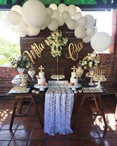 A gorgeous vintage christening and first communion dessert table set up. With two amazing bakers! Christening Centerpieces, Baptism Party Decorations, Communion Centerpieces, First Communion Decorations, Shower Centerpieces, Balloon Decorations, 1st Birthday Centerpieces, Première Communion, First Communion Party