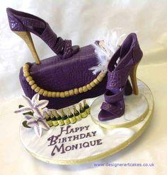 Purple and Gold glitter handbag and shoe cake