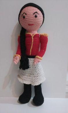 muñeca juana azurduy amigurumi 40 cm crochet amigurumis