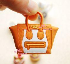 1/6 Scale Dollhouse Miniature Orange white Lady Handbag Bag