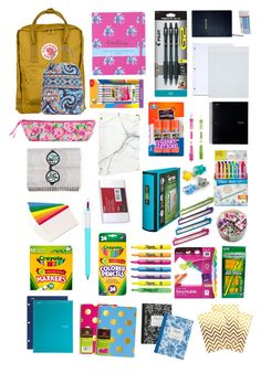"""""""school supplies / what's in my bag"""" by gabbyclark-1 ❤ liked on Polyvore featuring Lilly Pulitzer, Mead, Fjällräven, BIC, Pilot, Paper Mate, Pentel, Avery, Sharpie and Rifle Paper Co"""