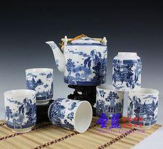 Special Jingdezhen Ceramics Bone China Tea Set 7 Binglie bucket of hand painted lotus porcelain tea set-in Coffee & Tea Sets from Home & Garden on Aliexpress.com