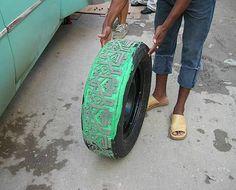 Tire Sculptures by Betsabeé Romero Tire Art, Mexican Artists, Art Studies, Beach Mat, Skateboard, Sculptures, Outdoor Blanket, Skateboarding, Sculpting