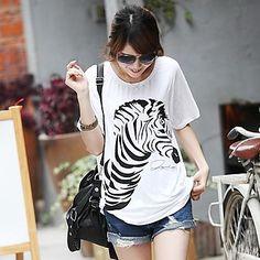Women's High Quality Print Short Sleeve T-Shirt / Modal Stretch Loose Big Yards Zebra T-Shirt