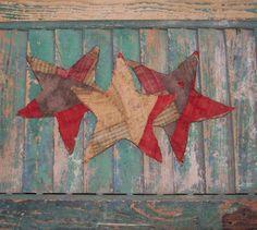 3 Primitive Star Ornaments Americana Decor by PrairiePrimitives