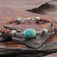 Turquoise Six Strand Round Braided Horseshair Bracelet