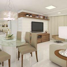Ambientação e Maquete eletrônica de uma Sala de Estar e Jantar em um apartamento. #ambientacao #veronicastro