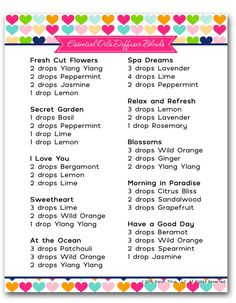 Get this free printable Moms Essential Oil Diffuser Blends, inspired by your amazing kindness and love! Take a day off and relax and breathe in the beautiful scents!