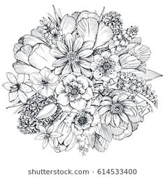 Spring Flowers Coloring Pictures Fresh Floral Position Bouquet with Hand Drawn Spring Flowers Flower Coloring Pages, Spring Coloring Pages, Colouring Pages, Coloring Books, Adult Coloring, Colorful Flowers, Spring Flowers, Fresh Flowers, Beautiful Flowers