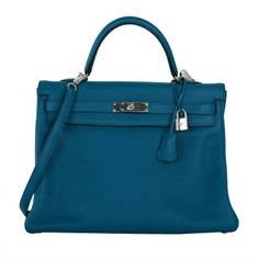 New Color Hermes Kelly Bag 35Cm Izmir Blue Clemence Leather