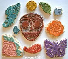 Hand Carved Day of the Dead Stamps