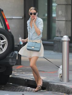Olivia Palermo denim, light blue, white, leopard