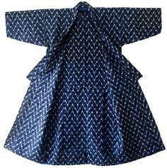 Handmade Vintage Japanese Indigo Cotton Kasuri by indigobluejapan, $175.00