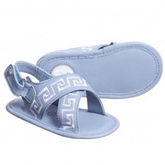 712859346d9648 Young Versace Baby Boys Blue Leather Sandals at Childrensalon.com