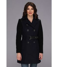 DKNY Trench w/ Boiled Wool Sleeve Coat New Midnight - 6pm.com