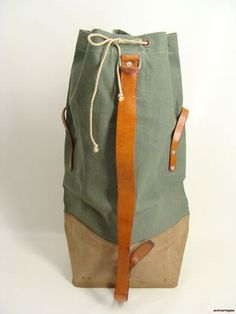 $124.95 vintage 60s 69 Swiss Army Military Heavy Duty Canvas Leather Duffle Shoulder Bag.click for details