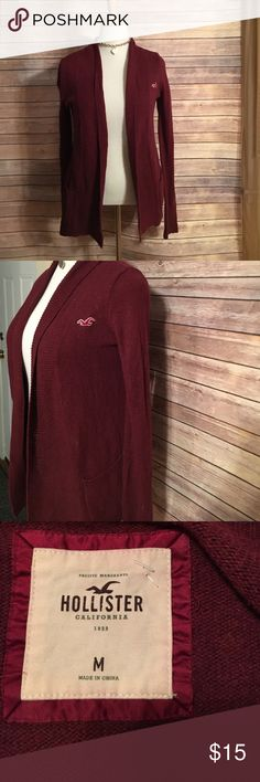 Hollister size medium cardigan maroon Maroon cardigan sweater with pockets on each side. Hollister Sweaters Cardigans
