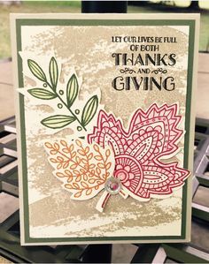 Light Hearted Leaves. Stampin Up! Kim Williams. Stampin with Kjoyink. Stampinwithkjoyink.typepad.com. Kim's Card Class.