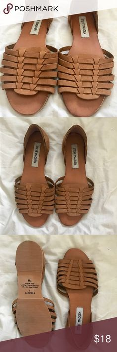 Tan Sandals (Steve Madden) Size 7, but they run small for a size 7. I bought them off a posher- reselling them because they fit me too small. I also have them in black! Brand New. Steve Madden Shoes Sandals