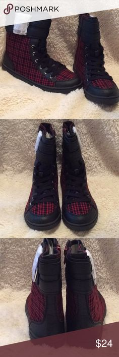 Unleashed Red and Black Plaid Booties. New with box. Unleashed Red and Black Plaid Fabric Booties.  Red zipper, black laces and decorative buckles. unleashed Shoes Ankle Boots & Booties