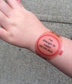 Food Allergy: Emergency Contact Temporary Tattoo Watches - 8 pack. copyright Madeline's Box Medical Alert Tattoo, Food Allergies, Temporary Tattoo, Good To Know, Essentials, Child, Watches, Tattoos, Box