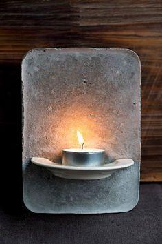 Tealight holder made of cement - DIY decoration - Bea- Teelichthalter aus Zement – DIY Deko – Bea Holder made of Cement – DIY Deco … - Cement Art, Concrete Art, Concrete Garden, Concrete Design, Concrete Bowl, Concrete Furniture, Concrete Planters, Polished Concrete, Beton Diy