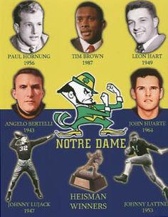 "Heisman Trophy Winners - hoping to add one more on Dec 7th - Manti Te'o. Like the Irish? Be sure to check out and ""LIKE"" my Facebook Page https://www.facebook.com/HereComestheIrish Please be sure to upload and share any personal pictures of your Notre Dame experience with your fellow Irish fans!"