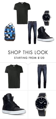 """boy school outfit"" by scarletanddamon ❤ liked on Polyvore featuring Yves Saint Laurent, Jack & Jones, Supra, Frédérique Constant, Alpine, men's fashion and menswear"
