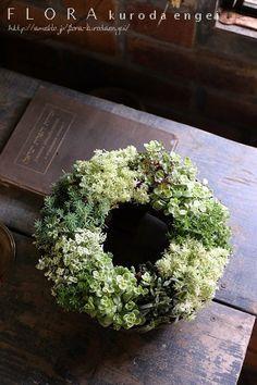 多肉植物の寄せ植え。。。セダムのリース寄せ植え(9月園芸教室の見本) | フローラのガーデニング・園芸作業日記