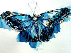 Mighty Morpho Butterfly - Art Print by Abby Diamond Butterfly Painting, Butterfly Watercolor, Watercolor And Ink, Butterfly Artwork, Watercolor Ideas, Watercolor Tattoo, Morpho Azul, Blue Morpho, Watercolor Paintings Of Animals
