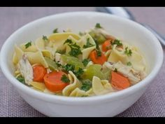 """GET RECIPE: http://divascancook.com/2012/01/homemade-chicken-noodle-soup-recipe.html    Seasoned roasted chicken, fresh herbs, sauteed onion, carrots, celery, and garlic simmered in a flavorful stock creates the best chicken noodle soup ever!!    We're in the icky cold and flu season so go ahead and make up a big ol batch of this """"mama's penicil..."""