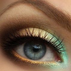 Mint and gold eyeshadow